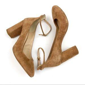 GIANNI BINI Camel Suede Ankle Strap Block Heels